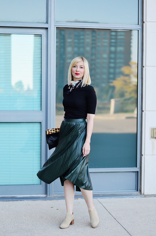 Leather Effect Midi Skirt for Fall | Sweater Weather Style