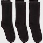 Women's 3pk Crew Socks - A New Day Black One Size