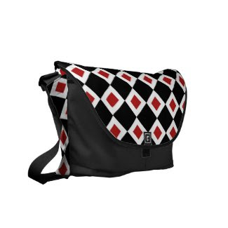 Black, White, Red Diamond Pattern Messenger Bag