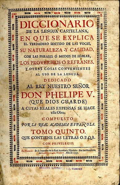 File:Portada Tomo V Diccionario de Lengua Castellana (1737) - AHG.jpg