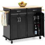Best Choice Products Portable Kitchen Island Cart with Wood Top, Black