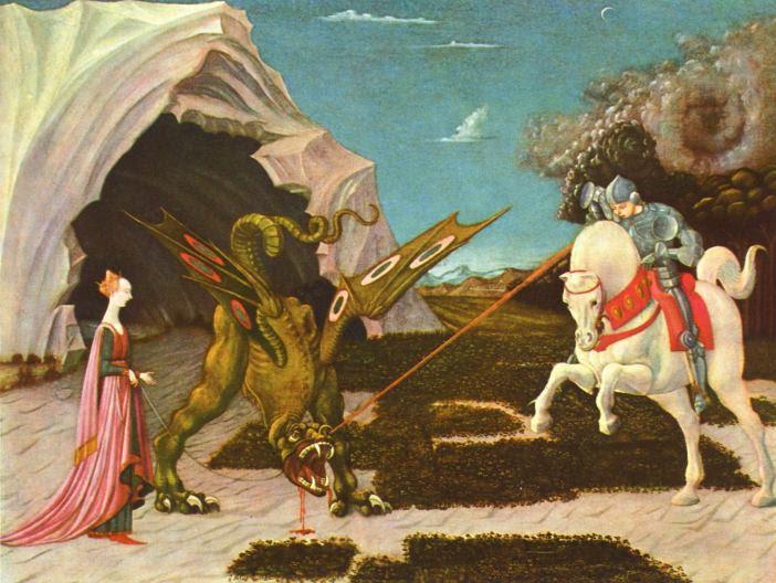 Paolo Uccello (1395-1475) St. Georg im Kampf mit dem Dachen