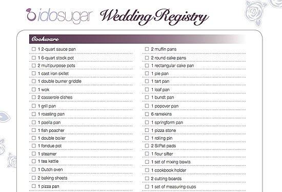 Wedding Gift List Checklist: Target Wedding Registry List