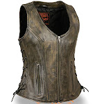 Milwaukee Zip Up Womens Distressed Brown Leather Motorcycle Vest 4x