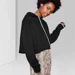 Women's Cropped Hoodie - Wild Fable Black