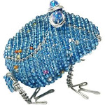 Beaded Wire Animal Frog 5 Inches Turquoise