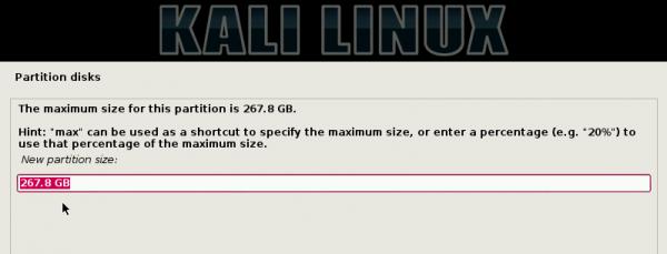 Kali Linux Create Partition size