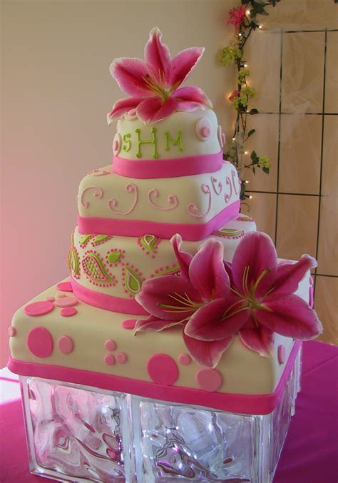 Fondant Stargazer Lilly Hot Pink Lime Green and Paisley