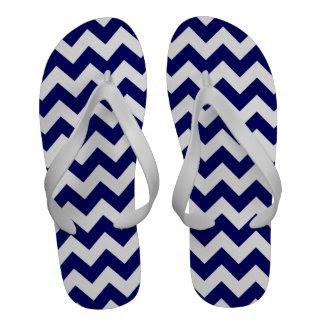 Navy and White Zigzag Flip Flops