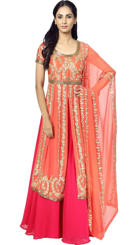 esha kouls orange long kurta  lehenga