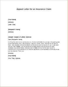 Appeal Letter for an Insurance Claim | writeletter2.com