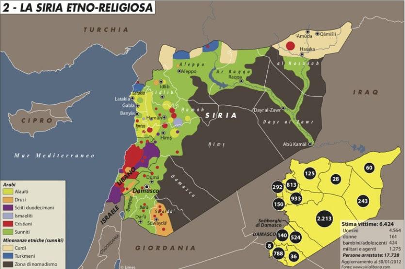 Mappa che descrive la Siria etno-religiosa evidenziando il carattere composito della società siriana, fonte: Limes