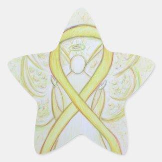 Yellow Awareness Ribbon Angel Custom Art Stickers