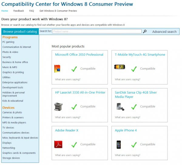 windows 8 compatibility center