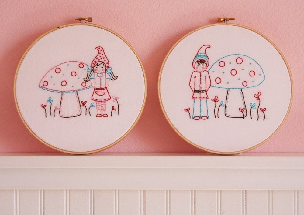 Little Gnomies Embroidery Patterns - Set of 2 - Boy and Girl