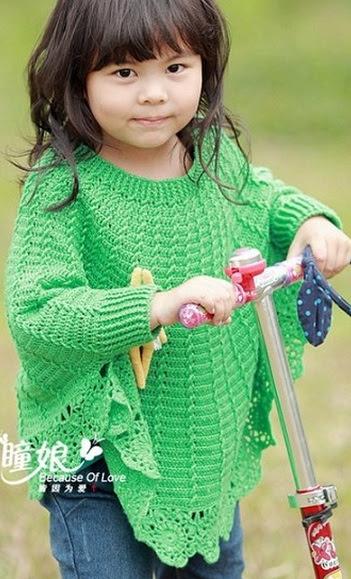 Пончо для девочки крючком