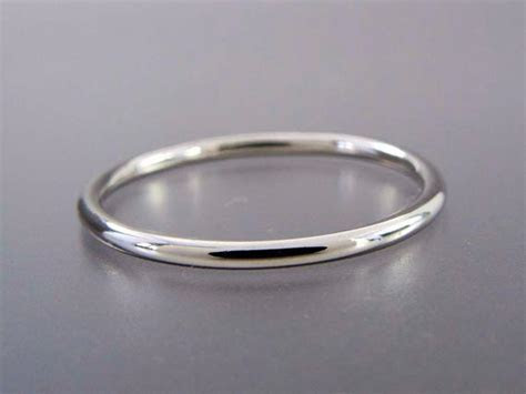 Thin Platinum Wedding Band 1.3mm Wide Stacking by