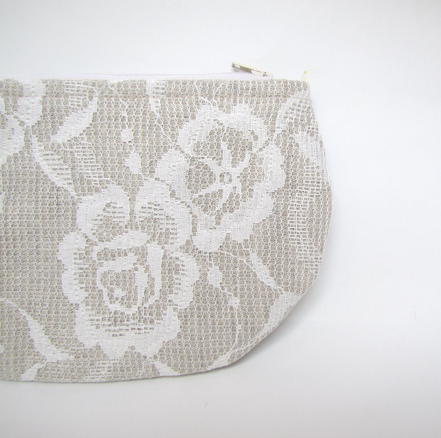 All laced up- zipper pouch, cosmetic bag, small clutch - natural linen covered with vintage lace