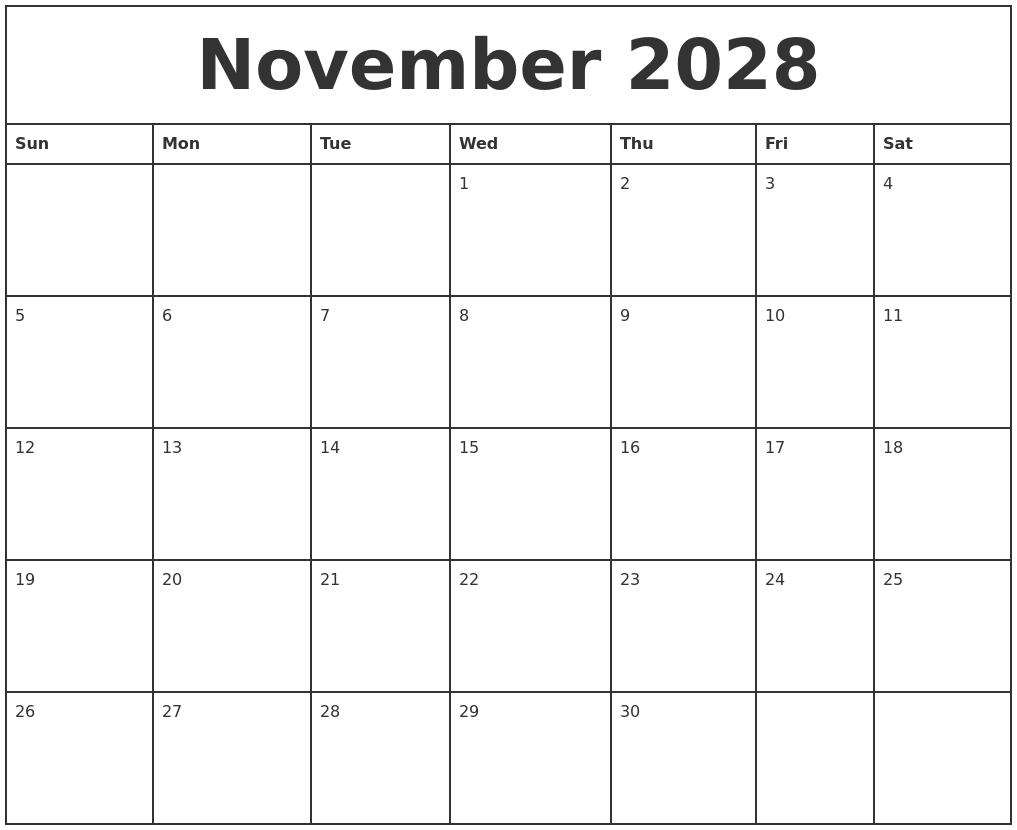 november 2028 printable monthly calendar