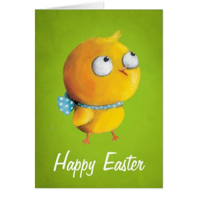 Cute Yellow Easter Chicken - Happy Easter Greeting Card