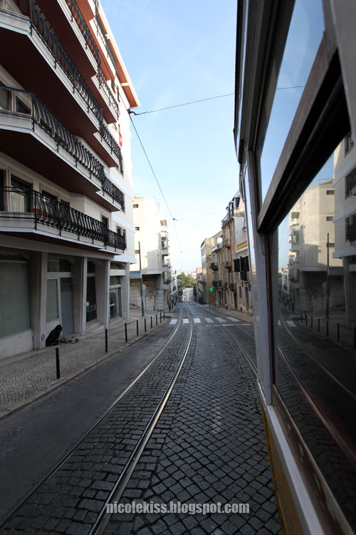 view from the side of the tram