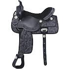 Tough-1 Eclipse Pro Trail Saddle - Tooled Leather Black