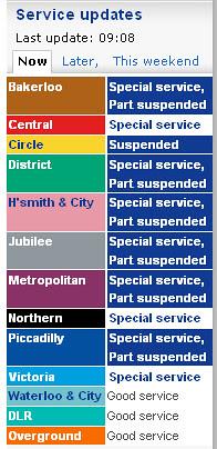 Tube Status as of 3rd November 2010 - 3rd Tube Strike