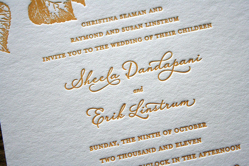 Autumn Leaves Letterpress Wedding Invitation