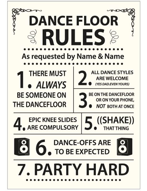 dance floor rules sign ivory
