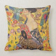 Gustav Klimt Lady with fan Vintage Throw Pillow throwpillow