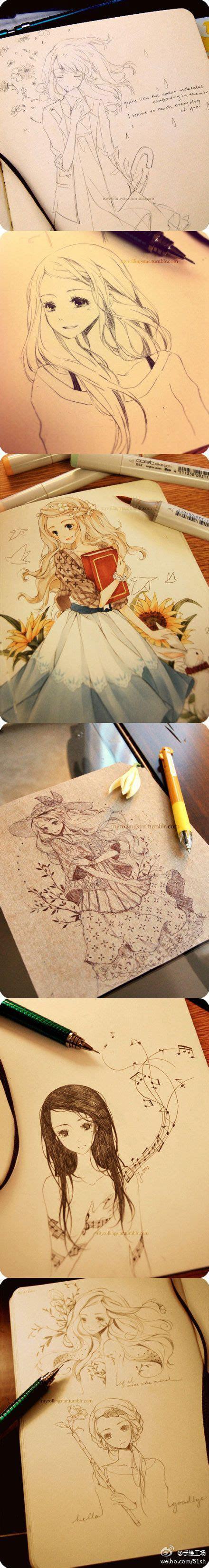 beautiful girl drawings  manga  pinterest