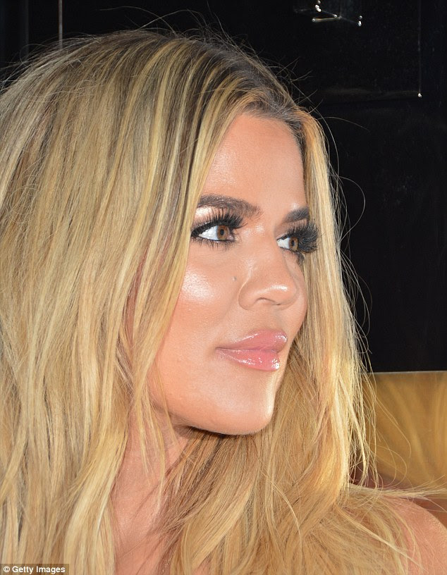 Natural beauty? Khloe seemed to be wearing lashings of make-up for the big night out