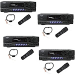 PYLE PRO PT260A 200W Home Digital AM FM Stereo Receiver Theater Audio (4 Pack) by VM Express
