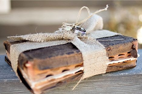 the rings tied to a Bible instead of a ring pillow