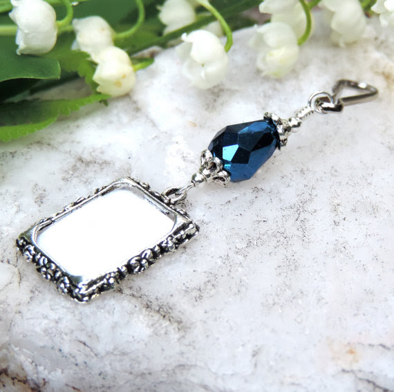 Something Blue Wedding Bouquet Memorial Charm Bridal Bouquet Photo