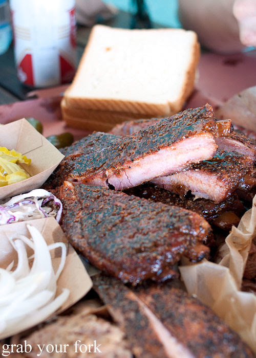 two pounds of bbq pork ribs at franklin barbecue austin texas