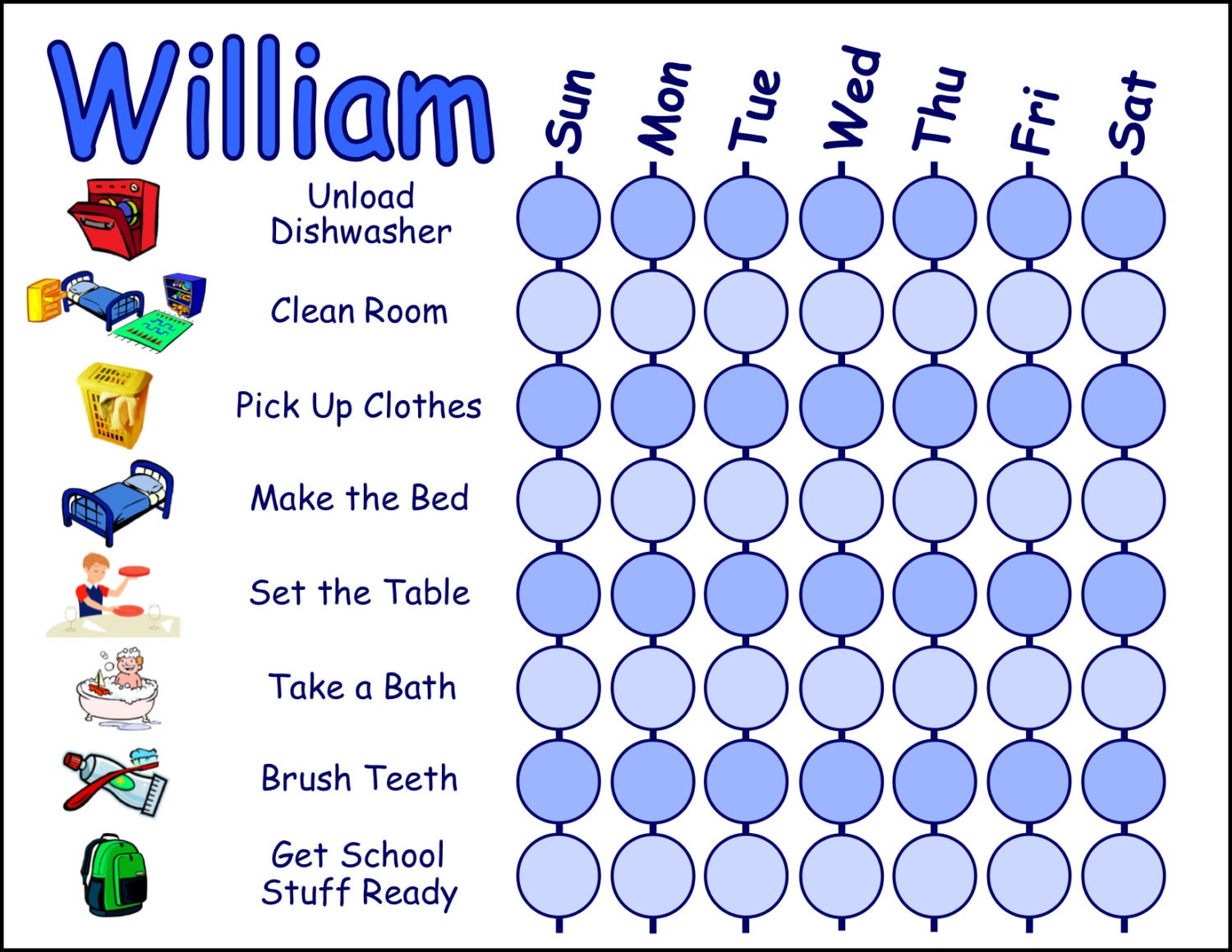 Kids / Toddler Chore Chart Behavior Chart or Daily by MainlyCharts