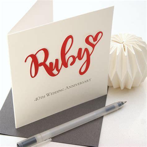 Ruby 40th Wedding Anniversary Card   Shop Online