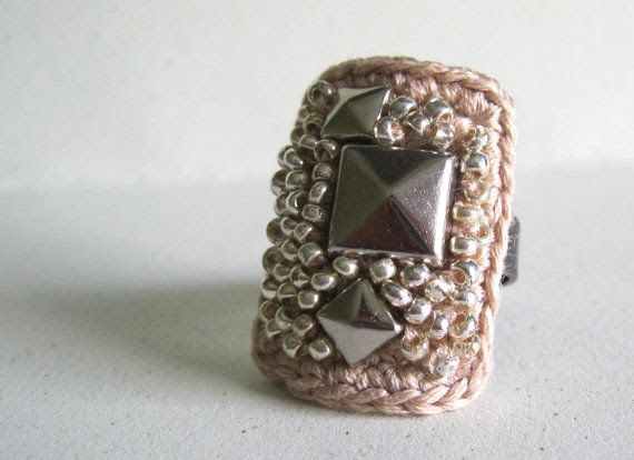 Beaded Pyramid Stud Textile RingTan and Silver by atelierfrost, $32.00