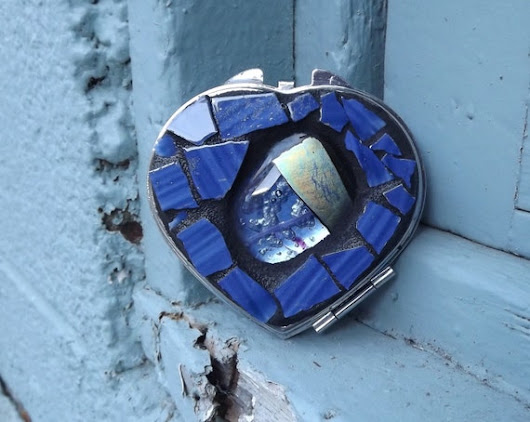 Blue Mosaic Heart Make Up Mirror Fused by PiecesofhomeMosaics