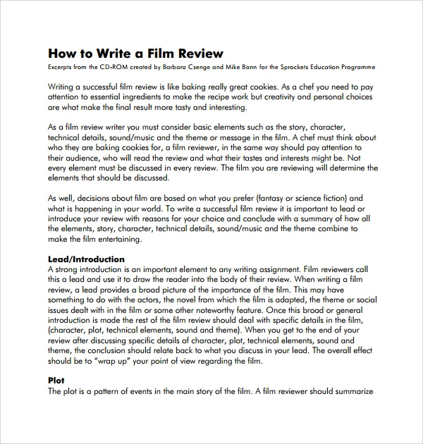 how to write essay about movie