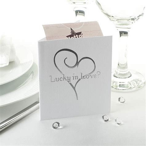 Lottery Ticket Holder White Silver Heart   UK Wedding Favours