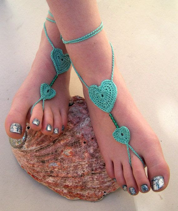 Mint Barefoot sandals  Crocheted Heart Anklet  by MaryKCreation, $20.-