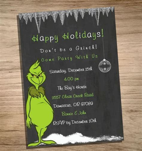 Holiday Party Invitation Grinch PRINTABLE JPEG by