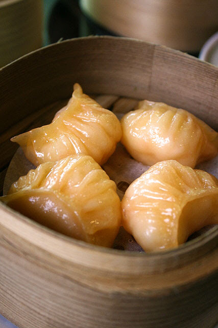 Steamed Prawn Dumpling with Carrot Puree