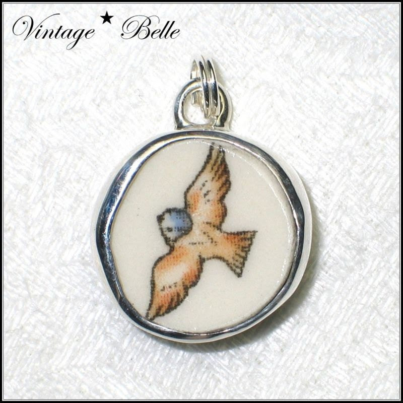 Beatrix Potter Peter Rabbit Broken China Jewelry Garden Bird Sterling Charm