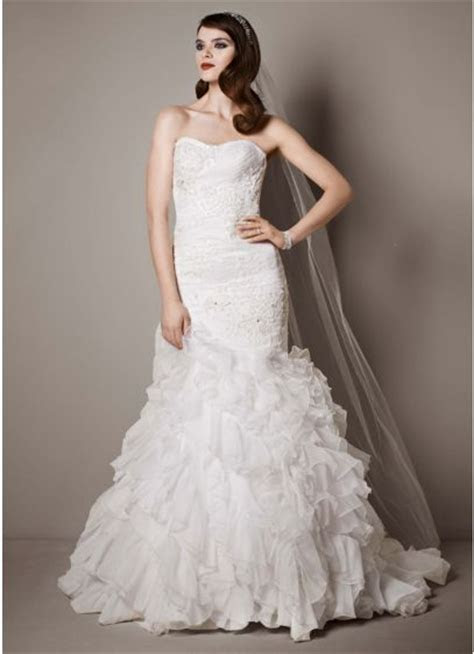 Wedding Gown with Lace Appliques and Ruffled Skirt   David