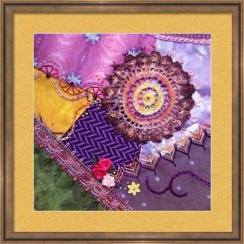 Summer flowers crazy quilt block #2