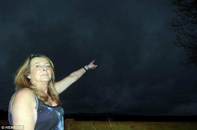Right there: Morag Ritchie in their back garden pointing towards the part of the sky where she saw the UFO on Saturday night