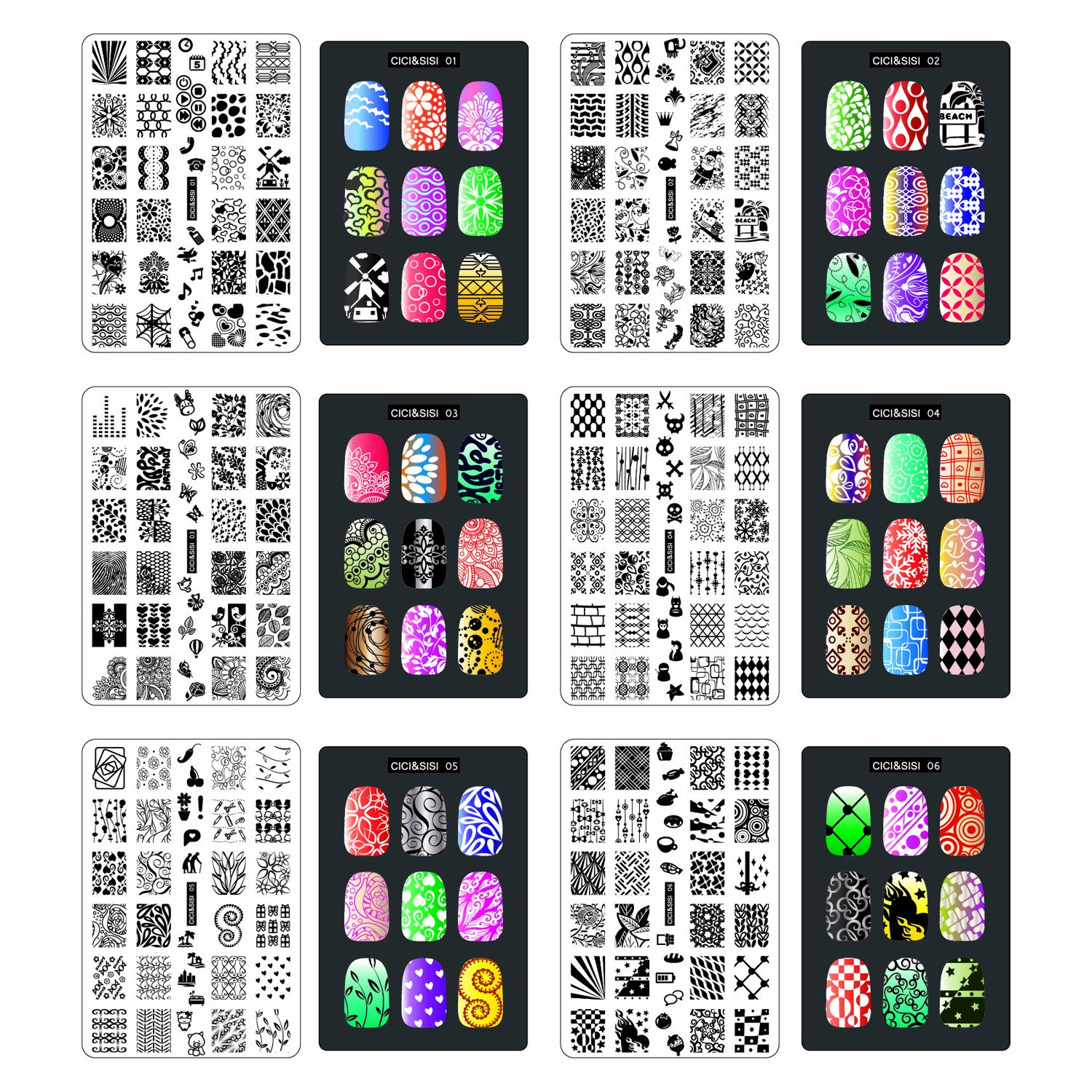 Lacquer Lockdown - Cici & Sisi, Cici & Sisi Set 1, Cici & Sisi Set 2, stamping, nail art, full sized nail images, new image plates 2014, new stamping plates 2014, new nail art plates 2014, new plates 2014, easy nail art, simple nail art, jumbo plates, Cici and Sisi